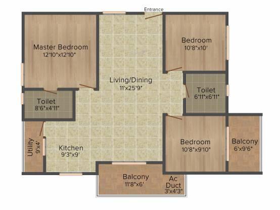 Muppa Alankrita (3BHK+2T (1,460 sq ft) Apartment 1460 sq ft)