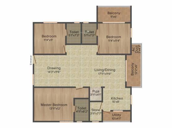 Muppa Alankrita (3BHK+3T (1,760 sq ft) + Pooja Room Apartment 1760 sq ft)