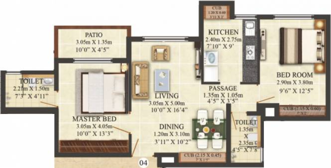Puraniks Hometown Phase 3 (2BHK+2T (700 sq ft) Apartment 700 sq ft)