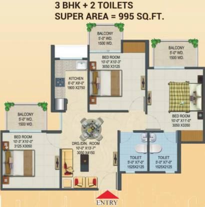 Migsun Migsun Roof (3BHK+2T (995 sq ft) Apartment 995 sq ft)