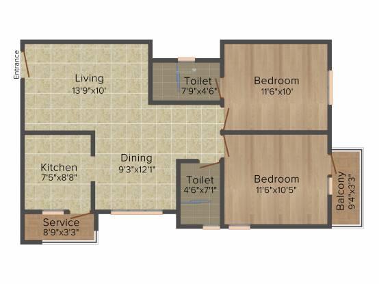 Kgeyes Madipakkam 280 (2BHK+2T (930 sq ft) Apartment 930 sq ft)