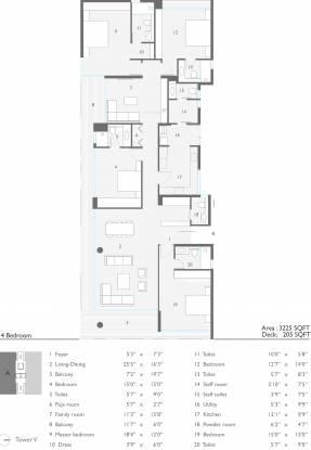 Ceebros One 74 (4BHK+5T (3,225 sq ft) + Servant Room Apartment 3225 sq ft)