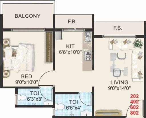 Sheetal Tapovan Heights (1BHK+2T (670 sq ft) Apartment 670 sq ft)
