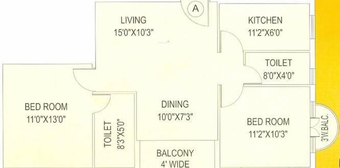 BCN Shyam Vihar Phase II (2BHK+2T (1,052 sq ft) Apartment 1052 sq ft)