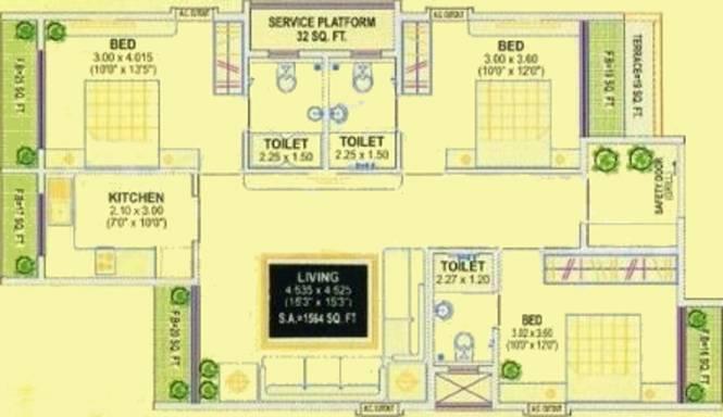 Silverline Sky Villa (3BHK+3T (1,564 sq ft) Apartment 1564 sq ft)
