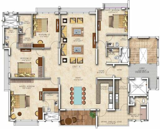 Salarpuria Sattva Casa Crescent (4BHK+4T (3,633 sq ft) + Servant Room Apartment 3633 sq ft)
