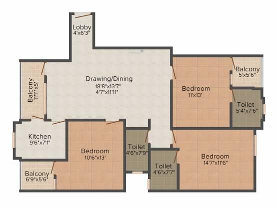 Shubh Hi Tech Residency (3BHK+3T (1,550 sq ft) Apartment 1550 sq ft)
