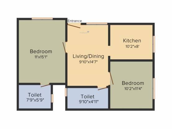 Manito Northlite (2BHK+2T (850 sq ft) Apartment 850 sq ft)