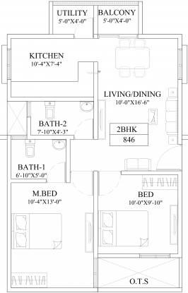 Vmaks Venus (2BHK+2T (846 sq ft) Apartment 846 sq ft)