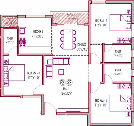 Lakshmi Mylapore Kutchary Road (3BHK+3T (1,267 sq ft) Apartment 1267 sq ft)