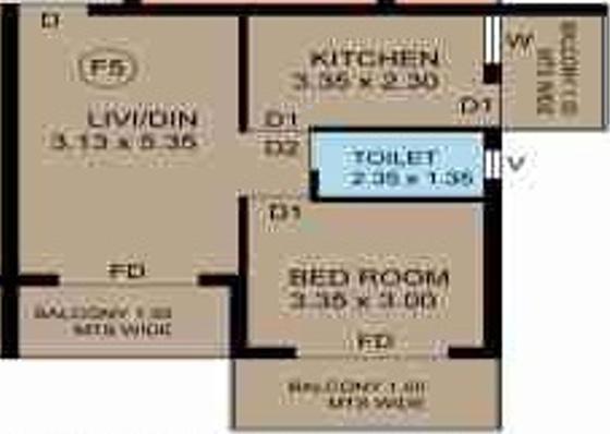 R Square Angel Rose (1BHK+1T (656 sq ft) Apartment 656 sq ft)