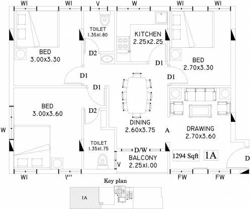 Kalpaka Arcade (3BHK+2T (1,294 sq ft) Apartment 1294 sq ft)