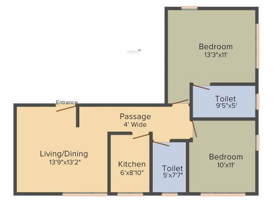 Space Club Town Gateway (2BHK+2T (973 sq ft) Apartment 973 sq ft)