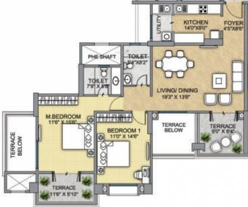 Raheja Raheja Vistas Premiere (2BHK+2T (887 sq ft) Apartment 887 sq ft)