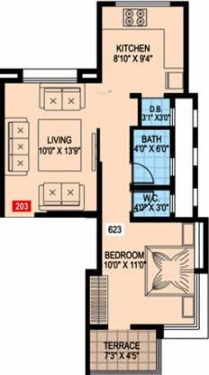 Sharadaa Bhagwati Iris (1BHK+1T (623 sq ft) Apartment 623 sq ft)