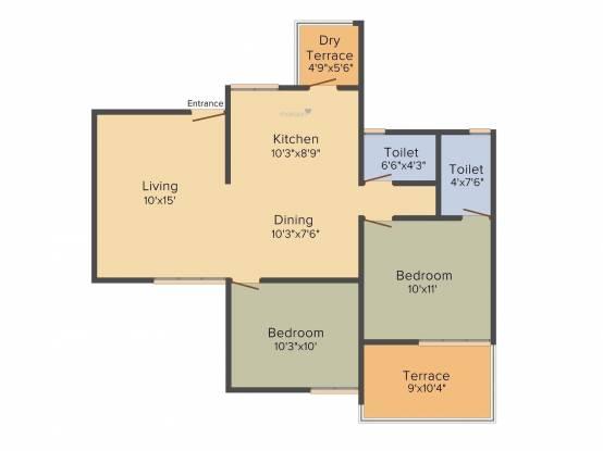 RK Residency (2BHK+2T (1,002 sq ft) Apartment 1002 sq ft)
