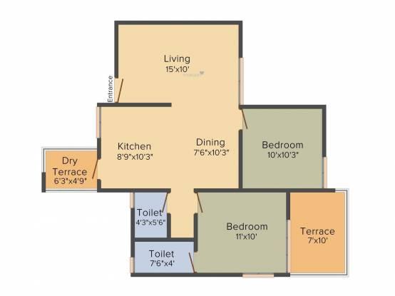RK Residency (2BHK+2T (1,014 sq ft) Apartment 1014 sq ft)