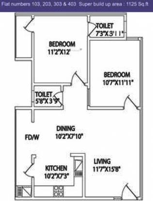 Myhna Mande Villa (2BHK+2T (1,125 sq ft) Apartment 1125 sq ft)