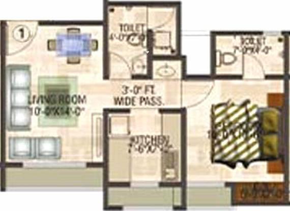 Puraniks Tokyo Bay (1BHK+2T (679 sq ft) Apartment 679 sq ft)