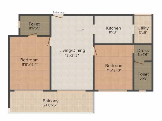 Elegant Bristol (2BHK+2T (1,253 sq ft) Apartment 1253 sq ft)
