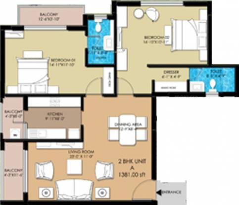 Elegant Buckingham (2BHK+2T (1,381 sq ft) Apartment 1381 sq ft)