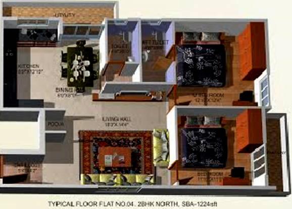 Akshaya Classic Homes (2BHK+2T (1,224 sq ft) + Pooja Room Apartment 1224 sq ft)