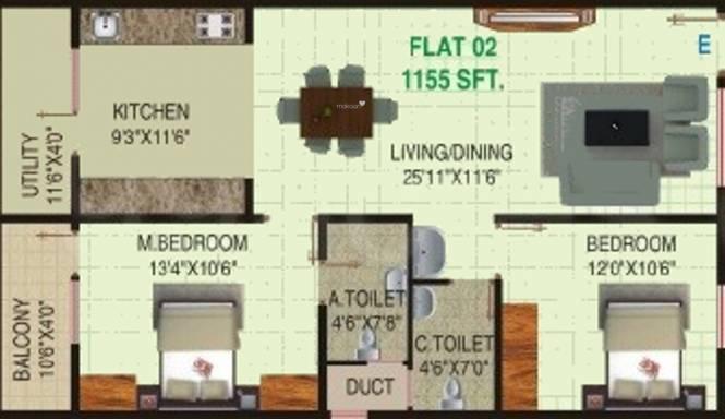 Sai Samruddhi (2BHK+2T (1,155 sq ft) Apartment 1155 sq ft)