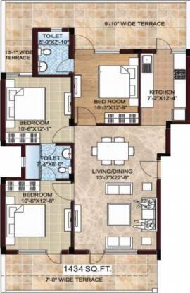 Omaxe Celestia Royal (3BHK+2T (1,434 sq ft) Apartment 1434 sq ft)