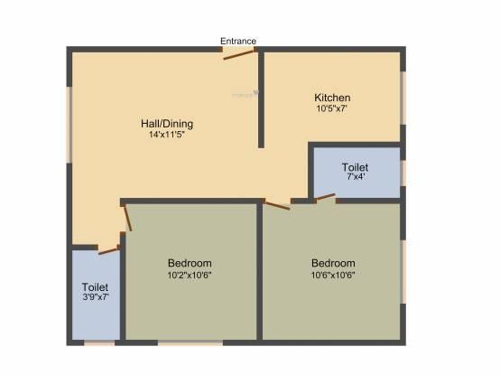 Le Sindur (2BHK+2T (770 sq ft) Apartment 770 sq ft)