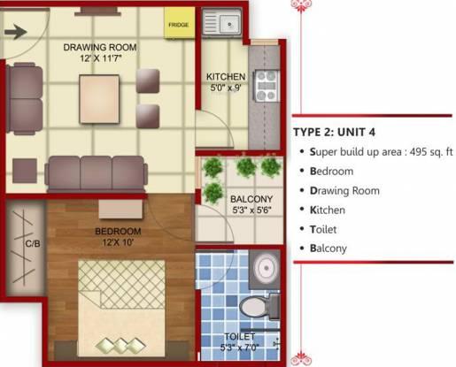 Radhika Homes (1BHK+1T (495 sq ft) Apartment 495 sq ft)