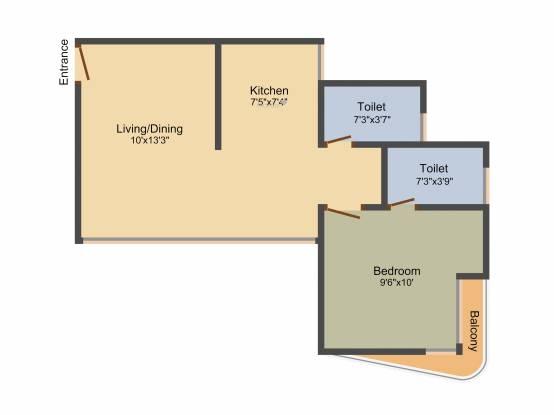 Richa Park Central (1BHK+2T (760 sq ft) Apartment 760 sq ft)