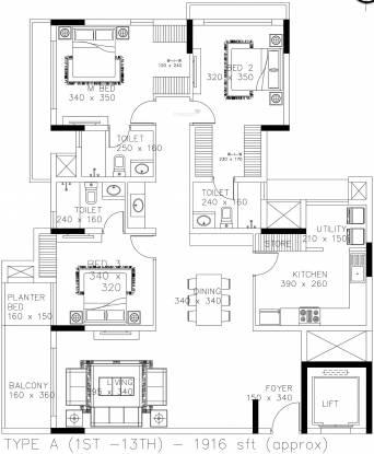 Skyline Ozone (3BHK+3T (1,916 sq ft) Apartment 1916 sq ft)