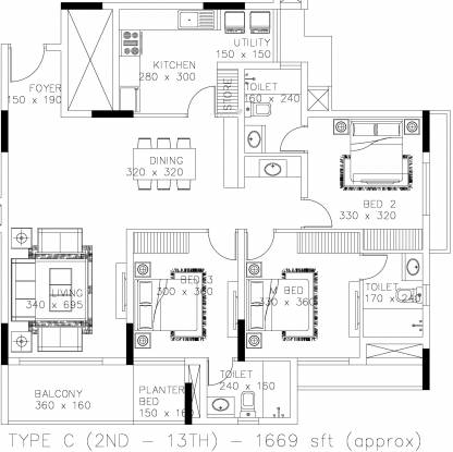 Skyline Ozone (3BHK+3T (1,669 sq ft) Apartment 1669 sq ft)