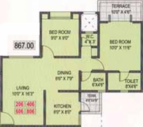 Sankla Satyam Shivam Sundaram (2BHK+2T (867 sq ft) Apartment 867 sq ft)