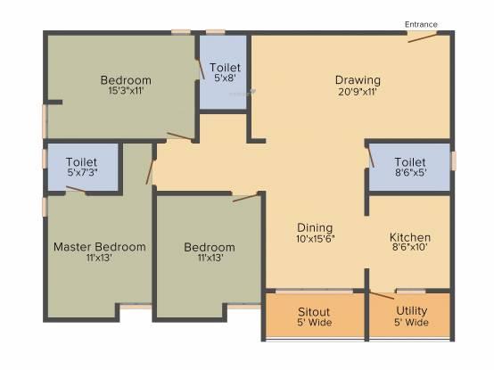 Prathap VSS Paradise (3BHK+3T (1,670 sq ft) Apartment 1670 sq ft)