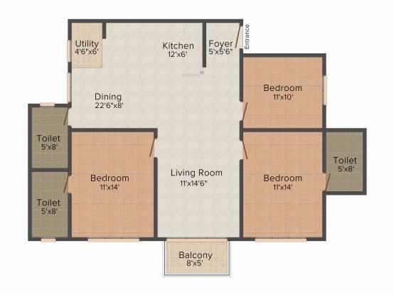 Srinivasa Sai Poorna Luxuria (3BHK+3T (1,508 sq ft) Apartment 1508 sq ft)