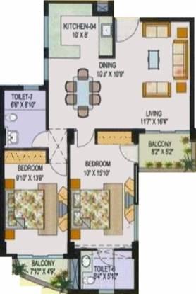 AWHO Sandeep Vihar (2BHK+2T (1,224 sq ft) Apartment 1224 sq ft)