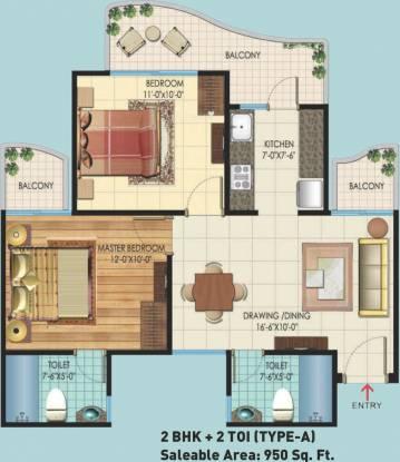 Rishabh Hindon Green Valley (2BHK+2T (950 sq ft) Apartment 950 sq ft)