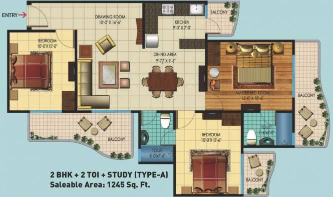 Rishabh Hindon Green Valley (2BHK+2T (1,245 sq ft) + Study Room Apartment 1245 sq ft)