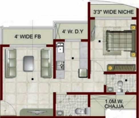 Sai Sai Siddhi Towers (1BHK+2T (693 sq ft) Apartment 693 sq ft)