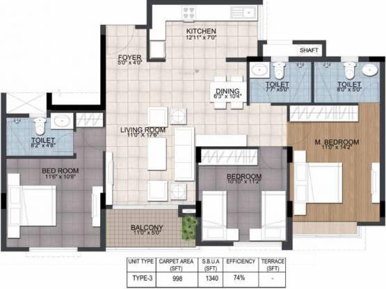 Ajmera Annex (3BHK+3T (1,340 sq ft) Apartment 1340 sq ft)