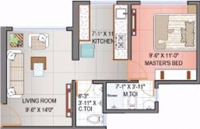 Oyster Club Life (1BHK+1T (638 sq ft) Apartment 638 sq ft)