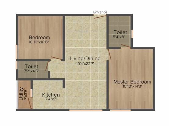 Trifecta Joli (2BHK+2T (935 sq ft) Apartment 935 sq ft)