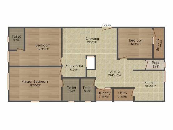 Raam Riverstone Habitat (3BHK+3T (1,940 sq ft) + Pooja Room Apartment 1940 sq ft)