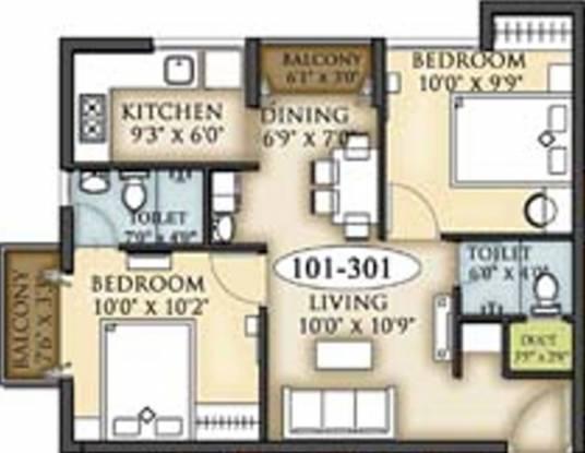 Shree Arihant Nirmaan Enclave (2BHK+2T (773 sq ft) Apartment 773 sq ft)