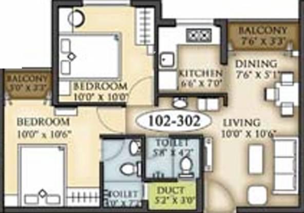 Shree Arihant Nirmaan Enclave (2BHK+2T (746 sq ft) Apartment 746 sq ft)