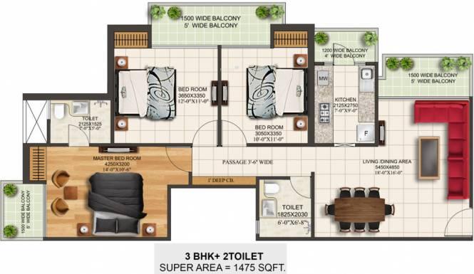 SKB Gold Coast 24 (3BHK+2T (1,475 sq ft) Apartment 1475 sq ft)