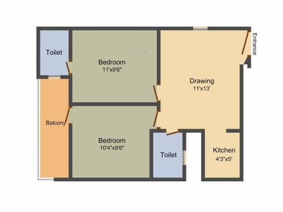 ABCZ East Platinum (2BHK+2T (1,015 sq ft) Apartment 1015 sq ft)