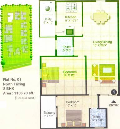 AM Heritage RG (2BHK+2T (1,137 sq ft) Apartment 1137 sq ft)