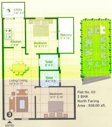 AM Heritage RG (2BHK+2T (938 sq ft) Apartment 938 sq ft)